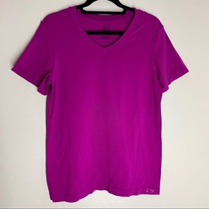 Champion Semi Fitted Purple Tee V Neck Short Sl